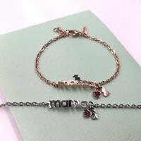 Titanium Steel MAMA Bear Bracelet Mother's Day Gift Bracelet Red Crystal Charm