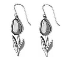 Sterling Silver TULIP FLOWER Dangle Earrings, Made in USA