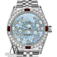 Rolex 36mm Datejust Baby Blue Flower Diamond Ruby Bezel Stainless Steel Jubilee