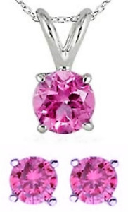 PENDANT CHAIN NECKLACE & EARRINGS PINK SAPPHIRES 6.00 mm. SILVER HARDNESS 9