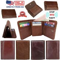 Men's RFID Blocking Genuine Full Grain Leather ID Window Trifold Wallet