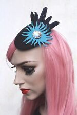 Leather Feather Mini Hat Burlesque Rockabilly Races Funeral Bridal Ladies Day