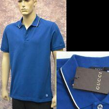 GUCCI New sz XL Cotton Mens Designer Authentic GG Logo Blue Polo Shirt