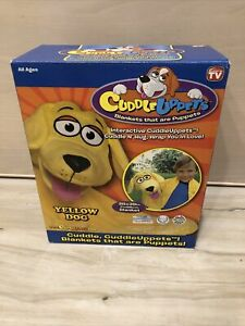 """YELLOW DOG Cuddle Uppets Puppy Dog Puppet Blanket Yellow 28"""" x 40"""" In BOX"""