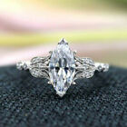 Pretty 925 Silver Rings Jewelry Marquise Cut Cubic Zirconia Girls Ring Size 6-10