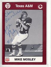 MIKE MOSLEY TEXAS A&M PERSONALIZED AUTOGRAPHED CARD IN ROUGH SHAPE
