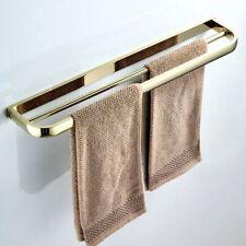 Luxury Gold Brass Wall Mounted Bathroom Towel Rack Bar Double Rail Holder