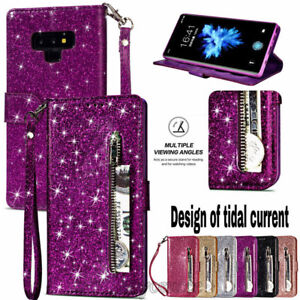 Leather Wallet Glitter Bling Zipper Stand Case Cover For Huawei Mate 20 Lite/P20
