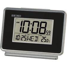 Seiko QHL068K LCD Dual Alarm Calendar Clock Black