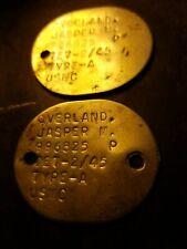 WW2 USMC Round Dog Tag Pair - Overland Jasper M 996825 - Marine Corps - 1945
