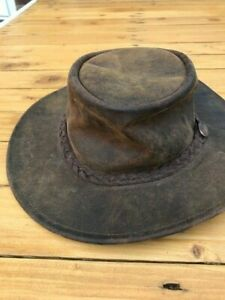 Leather mens Australian hat