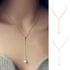 Stylish Silver Gold Chain Crescent Pearl Pendant Charming Necklace Jewelry Pro