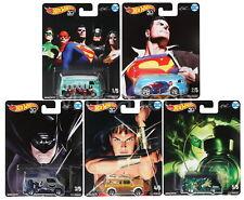 Hot Wheels Pop Culture 2018 Alex Ross DC Heroes Series Diecast Cars, Set of 5