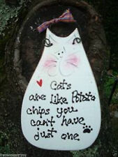 CATS ARE LIKE POTATO CHIPS YOU CAN'T COUNTRY WOOD RUSTIC PRIMITIVE SIGN PLAQUE
