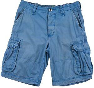 Tommy Hilfiger Homme Short Bermuda Cargo Coton Bleu Bouton Poche Zip Sz W-31