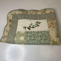 quilt pillow sham color green button closure 100% cotton patch floral print