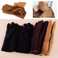 Damen Herren Thermo Finger Handschuhe Winter Warm Schaffell Handschuhe Unisex
