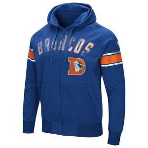 Denver Broncos Men's Hands High Throwback Arena Full Zip Hooded Sweatshirt