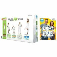 Wii Fit Plus With Balance Board & Biggest Loser Game Bundle Very Good 7Z