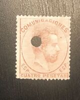 SPAIN #188 Average Issue  PUNCHED CANCEL - KING AMADEO NG H
