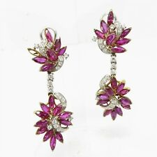 NYJEWEL 14k Gold 10.6ctw Natural Ruby Diamond Omega Back Earrings