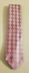 Dion Collection Pink and Gray Squares Tie Made in Canada