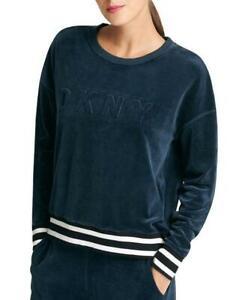DKNY Womens Navy Sport Velour Embossed-Logo Sweatshirt Sz L $69 TINI {&}