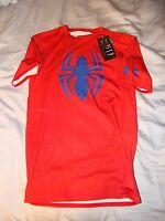 NWT UNDER ARMOUR THE AMAZING SPIDERMAN 2 ALTER EGO COMPRESSION SHIRT RED LARGE !