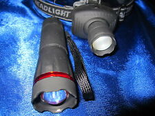 Kopflampe 170m Leuchtweite+Taschenlampe 130m Leuchtweite Stirnlampe Focus Lampe