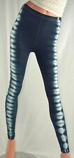 HAPPY TIE DYE Leggings X-SMALL Black and White Front Stripes AMERICAN APPAREL