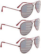 3 PAIRS RED Aviator USA American US Flag Sunglasses United States stars stripes