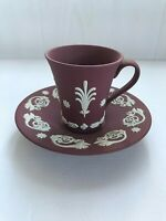 Rare Wedgwood Jasperware Crimson coloured Cup and Saucer in excellent condition.
