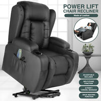 Oversize Auto Electric Power Lift Massage Chair Leather Recliner Heat Vibration