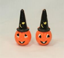 Vintage Halloween Wax Figures Decorations Jack O'Lantern with Witch Hat Set of 2