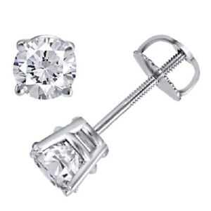 1/2ct 14K White Gold Round Natural (Real) Diamond Stud Earrings-Certified $899
