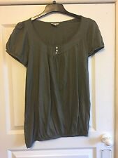 Ladies Olive Green Baggy Smock T-Shirt Style Top - Size UK 10 - VGC - Pagan