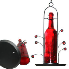 Free Shipping ~ New Bird Seed Feeder Red Glass Wine Bottle ~ Great Gift
