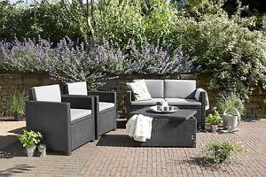 Keter Monaco Garden Furniture Plastic Lounge Set With Waterproof Storage Table