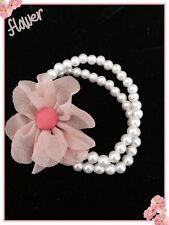 Korean Womens Pink Flower Pearls Hair Band Ponytail Holder