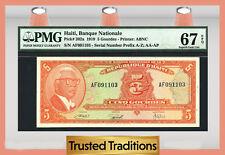 TT  PK 202a 1919 HAITI 5 GOURDES PMG 67 EPQ SUPERB GEM UNCIRCULATED