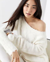 NWT Theory $495 Irinka Sweater 100% Silk Mohair/ Angora Fur Like S 0 2 Ivory