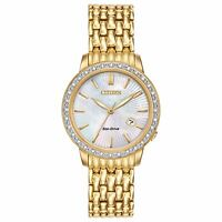 Citizen Eco-Drive Women's EW2282-52D Diamond Accents Gold-Tone 29mm Dress Watch