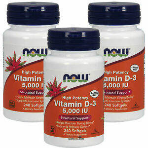 3 x NOW High Potency Vitamin D-3 5000 IU 240 Softgels, Structural Support, FRESH