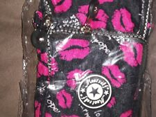 Lips Kisses Lipstick Print Pattern NIB Black Shoulder Clutch Bag Purse meetself,