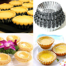 10pcs Disposable Aluminum Foil Baking Cookie Muffin Cupcake Egg Tart Mold Round