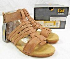 CAT Caterpillar Tanga Tan Premium Leather Gladiator Zip Sandals SIZE 6.5 - NEW