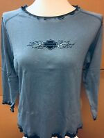 Harley-Davidson Women's Layered Look Blue Embroidered Shirt XL