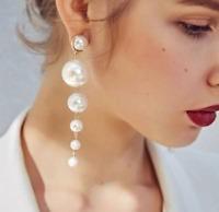 Women Elegant Jewelry Big Simulated Pearl Long Tassel Earrings Ear Stud Gift
