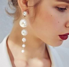 Elegant Big Simulated Pearl Long Tassel Earrings Ear Stud Charm Women's Jewelry