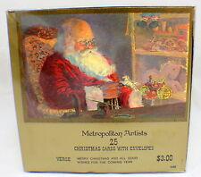 Metropolitain Artists Christmas Greeting Cards Santa Boxed set 25 w/ envelope